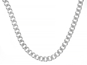Sterling Silver Hollow Round Curb 18 Inch Chain