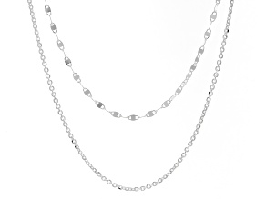 Sterling Silver Two-Strand Mirror and Diamond-Cut Cable Necklace
