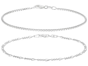 Sterling Silver Set of Two 2MM Figaro and 1.3MM Diamond-Cut Box Link Bracelets