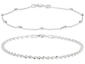 Sterling Silver Set of Two 2.5MM Twisted Herringbone & 2.4MM Diamond-Cut Bead Station Link Bracelets