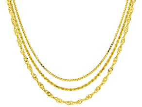18K Yellow Gold Over Sterling Silver 1.4MM Rope, 2MM Singapore, and 1MM Diamond-Cut Box Set Chains