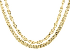 18K Yellow Gold Over Sterling Silver 6MM Set of 2 Singapore and Wheat 20-Inch Chains
