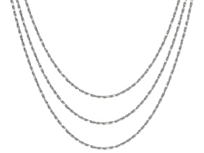 Rhodium Over Sterling Silver 1.4MM Set of 3 Rope Chain
