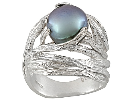 9mm Gray Cultured Freshwater Pearl Sterling Silver Nest Ring