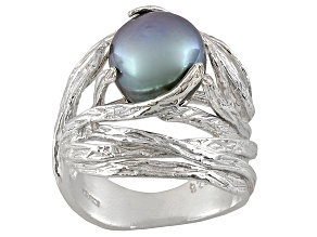8-9mm Gray Cultured Freshwater Pearl Sterling Silver Nest Ring