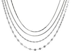 Rolo Link Popcorn Link Singapore Link Italian Sterling Silver Necklace Chain Set