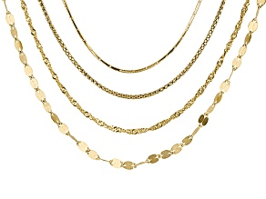 Rolo Link Popcorn Link Singapore Link Italian 18kt Gold Over Silver Chain Set