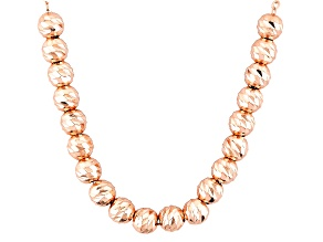 18k Rose Gold Over Sterling Silver Small Bead Cable Link Necklace 18 inch