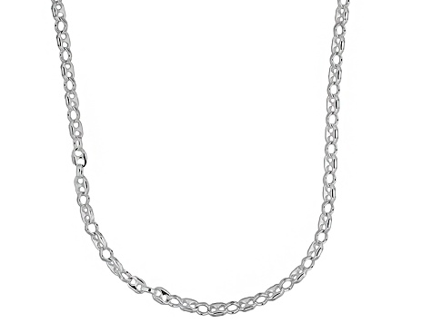 Sterling Silver Puffed Mariner Link 20 inch Necklace   Made in Italy