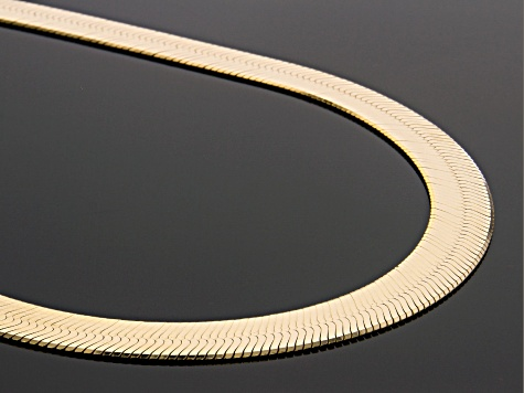 18K Yellow Gold Over Sterling Silver 9MM Herringbone Link 20 Inch Necklace