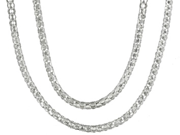 Picture of Sterling Silver Popcorn Link Chain Set Of Two 18 inch 22 inch