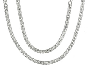 Sterling Silver Popcorn Link Chain Set Of Two 18 inch 22 inch