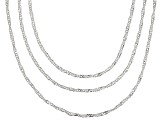 Sterling Silver Singapore Link Chain Set Of Three 20, 24, 30 inch