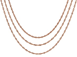 18k Rose Gold Over Sterling Silver Singapore Link Chain Necklace Set Of 3