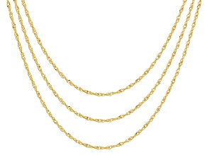 18k Yellow Gold Over Sterling Silver Singapore Link Chain Necklace Set Of 3