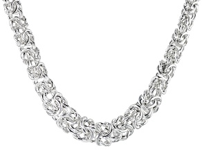 Sterling Silver Graduated Flat Byzantine Link Necklace 18 inch 10mm