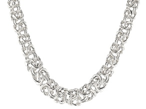 Sterling Silver Graduated Flat Byzantine Link Necklace 20 inch
