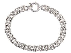 Sterling Silver Hollow Flat Byzantine Link Bracelet 8.25 inch 7.5mm