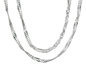 Sterling Silver Diamond Cut Singapore Link