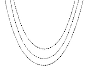 Sterling Silver Bead Link Chain Set Of Three 18, 24, 28 inch