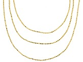 18k Yellow Gold Over Sterling Silver Bead Link Chain Set Of Three 18, 24, 28 inch