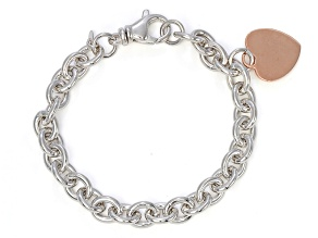 Sterling Silver Italian Hammered/Polished Oval Link Bracelet