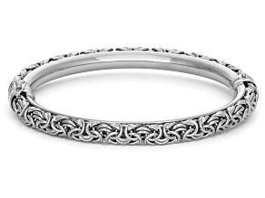 Sterling Silver Heavy Byzantine Bangle