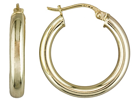 Polished 18k Yellow Gold Over Sterling Silver Round Tube Hoop Earrings