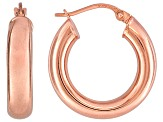 Polished 18k Rose Gold Over Sterling Silver Round Tube Hoop Earrings