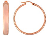 Polished 18k Rose Gold Over Sterling Silver Round Hoop Earrings