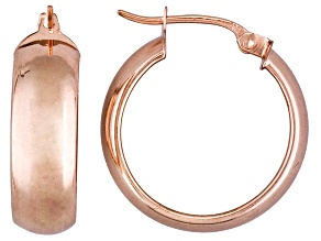 Polished 18k Rose Gold Over Sterling Silver 1/2 Round Hoop Earrings