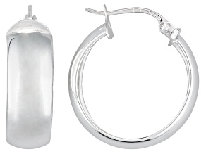 Polished Sterling Silver 1/2 Round Hoop Earrings