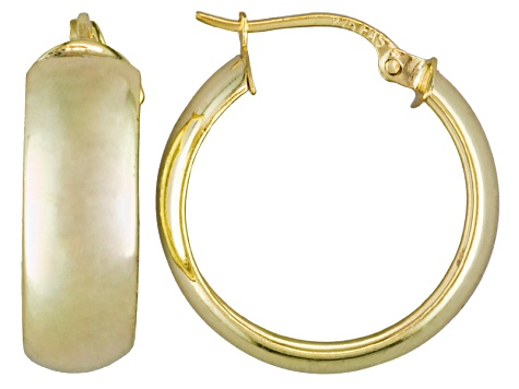 Polished 18k Yellow Gold Over Sterling Silver 1/2 Round Hoop Earrings