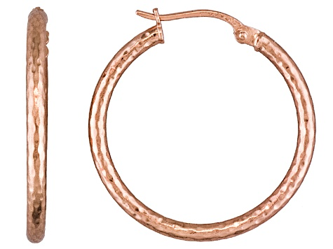 Polished 18k Rose Gold Over Sterling Silver Diamond Cut Popcorn Hoop Earrings