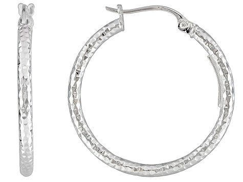 Polished Sterling Silver Diamond Cut Popcorn Hoop Earrings