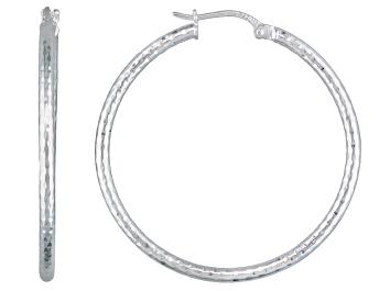Picture of Diamond Cut Polished Sterling Silver Popcorn Hoop Earrings
