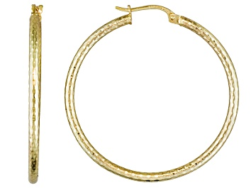 Picture of Diamond Cut Polished 18k Yellow Gold Over Sterling Silver Popcorn Hoop Earrings