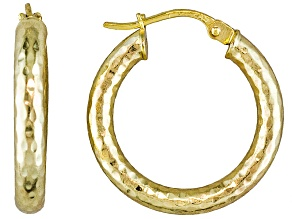 Diamond Cut Polished 18k Yellow Gold Over Sterling Silver Popcorn Hoop Earrings