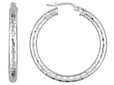 Diamond Cut Polished Sterling Silver Tube Hoop Earrings