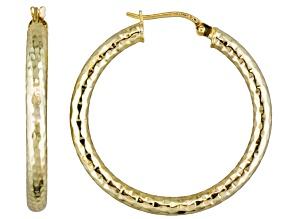 18k Yellow Gold Over Sterling Silver Tube Hoop Earrings