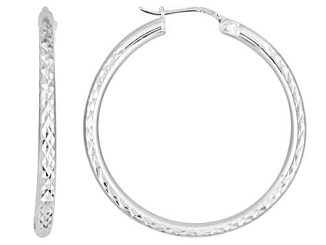 e7c04e21c Diamond Cut Sterling Silver Hoop Earrings - BSW017W | JTV.com