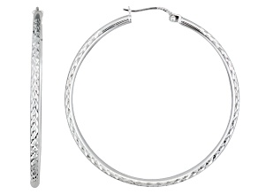 Polished Sterling Silver Diamond Cut Hoop Earrings