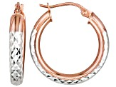 Diamond Cut Sterling Silver And 18k Rose Gold Over Sterling Silver  Hoop Earrings