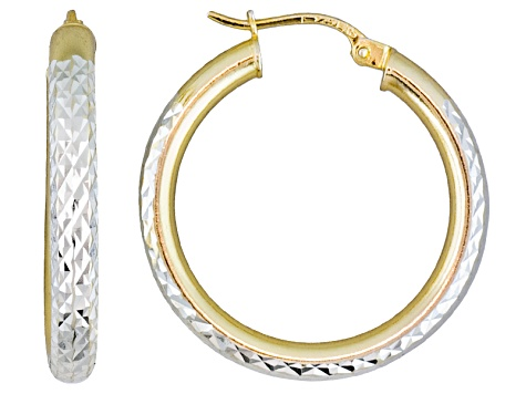 Diamond Cut Sterling Silver And 18k Yellow Gold Over Sterling Silver Hoop Earrings