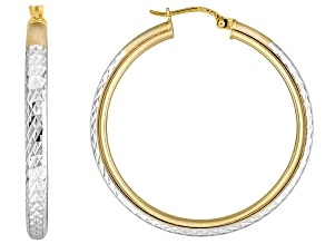 Diamond Cut Sterling Silver And Polished 18k Yellow Gold Over Sterling Silver Hoop Earrings