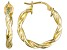 Polished 18k Yellow Gold Over Sterling Silver Braided Twist Hoop Earrings