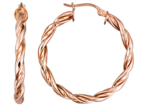 Polished 18k Rose Gold Over Sterling Silver Braided Twist Hoop Earrings