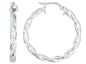 Polished Sterling Silver Braided Twist Hoop Earrings