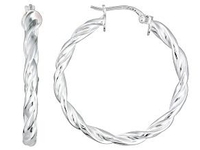 Polished Sterling Silver Braided Twist Hoop Earrings