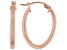 Polished 18k Rose Gold Over Sterling Silver Square Oval Hoop Earrings